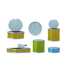 various tin cans isolated on white background vector image