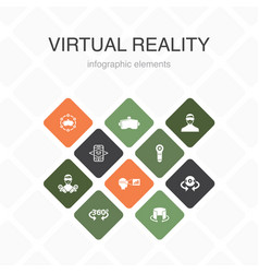 Virtual reality infographic 10 option color design vector