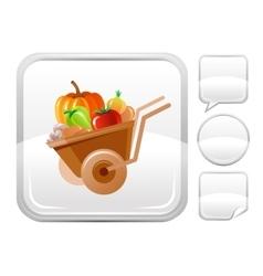 Wheelbarrow icon on silver button vector