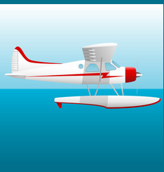 white seaplane hydroplane in the sky over the sea vector image
