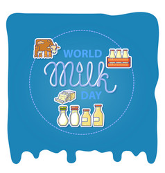 World milk day card with handwritten lettering and vector