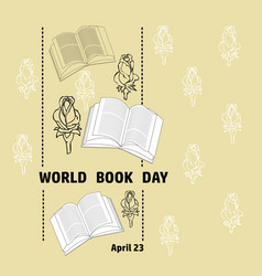 black and white book rose and text word book day vector image