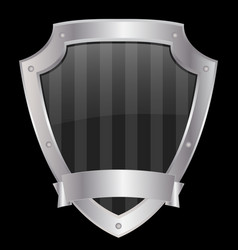 empty shield with metallic frame vector image vector image