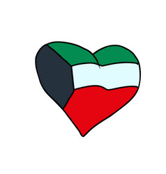kuwait isolated heart flag on white background vector image vector image