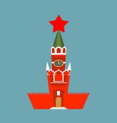 moscow kremlin cartoon style isolated spasskaya vector image vector image