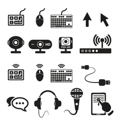 Set of computers and hardware icons vector image vector image