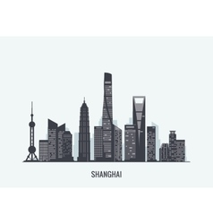 Shanghai skyline silhouette vector image
