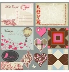 vintage love set vector image vector image