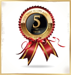 5 year anniversary label vector image