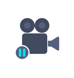 cam camera film movie pause record icon vector image