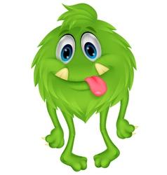 Cute hairy green monster cartoon vector image