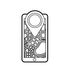 navigation gps on smartphone with map pointer and vector image