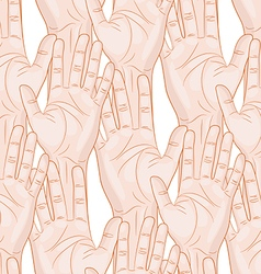 raised hands seamless pattern horizontal vector image