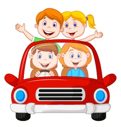 Road Trip with family cartoon vector image vector image