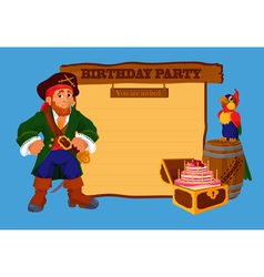 Birthday party invitation card with pirate vector image