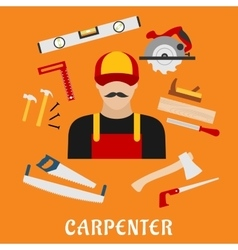 Carpenter and his toolbox tools vector image vector image