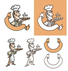 Cook is holding pizza vector image vector image
