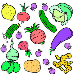 doodle of vegetable various colorful set vector image vector image