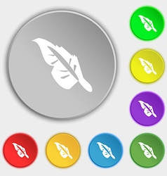 Feather icon sign Symbol on eight flat buttons vector image vector image