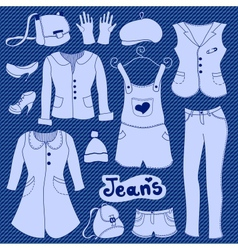 jeans clothes set vector image vector image