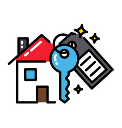 mortgage house icon concept key black outline vector image vector image
