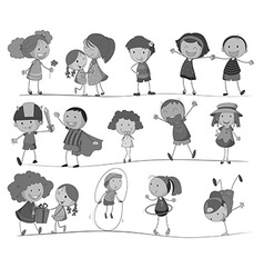 Set of children in black and white vector