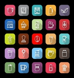 Coffee and tea line icons with long shadow vector image vector image
