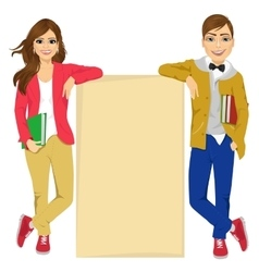 Couple of college students vector image vector image