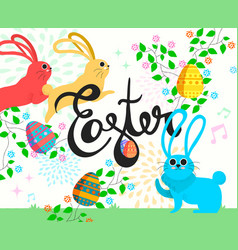 happy easter bunny in spring season vector image vector image