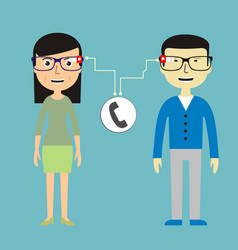 man and woman chatting via smart glasses vector image