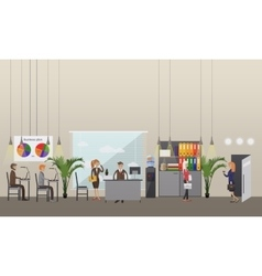 office interior banner in flat style design vector image vector image