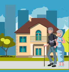 old couple with house home image vector image vector image