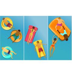 people enjoying swimming vector image vector image