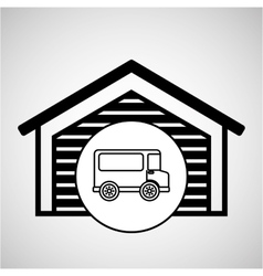 storage building transport delivery truck vector image