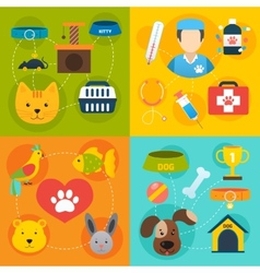 Veterinary icons set flat vector image