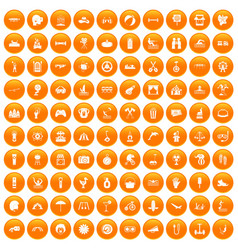 100 summer vacation icons set orange vector