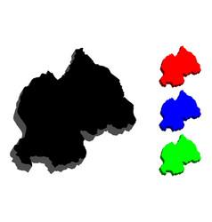 3d map of rwanda vector image