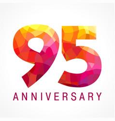 95 anniversary red logo vector