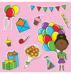 African-american girl with color balloons and birh vector