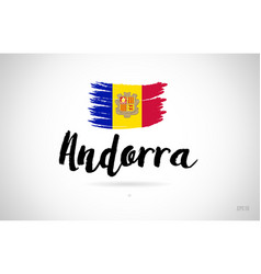 Andorra country flag concept with grunge design vector