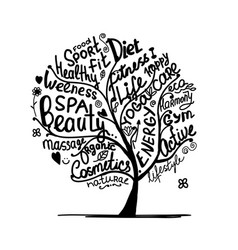Art tree with healthy lifestyle tags vector