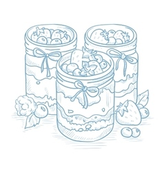 Assorted jams in glass jars vector