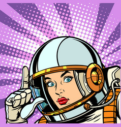 astronaut woman points up vector image