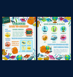 Back to school poster with science infographics vector