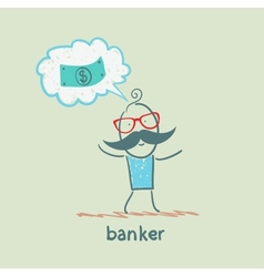 banker thinks about money vector image