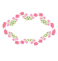 beautiful wreath elegant floral frame hand drawn vector image