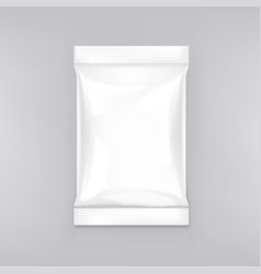 Blank glossy foil pouch snack packaging on white vector