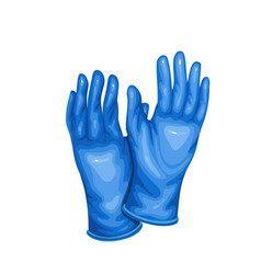 blue medical latex protective gloves vector image