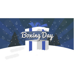 boxing day sale design with gift box snowfall and vector image