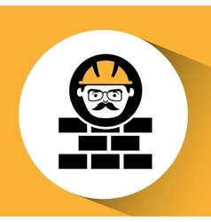 Bricks man worker construction design icon vector